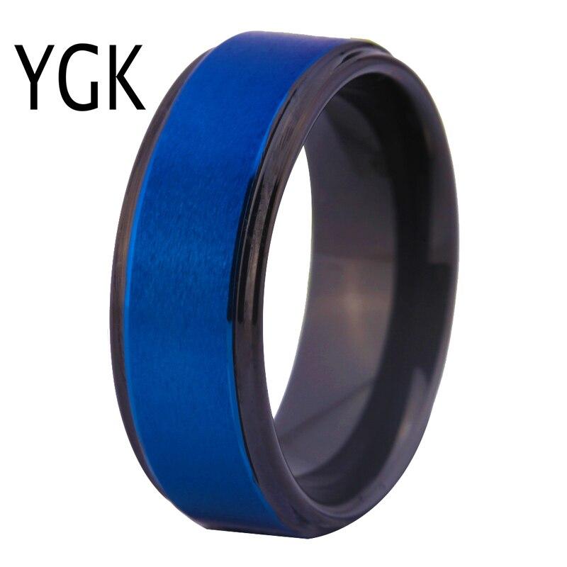 Men's Tungsten Wedding Ring Women Engagement Rings Custom Engraving Ring Blue Matte Center Black Steps Comfort Fit Design Ring