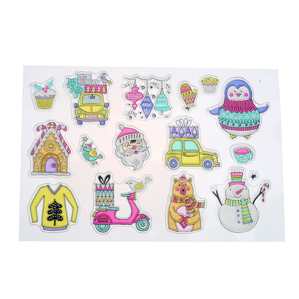Silicone Clear Stamps DIY Scrapbooking Paper Craft Snowman Santa Claus Christmas Eve Decoration Embossing Clear Stamp Sheet ylcs221 animals silicone clear stamps for scrapbook diy album paper cards decoration embossing folder craft rubber stamp 11 16cm
