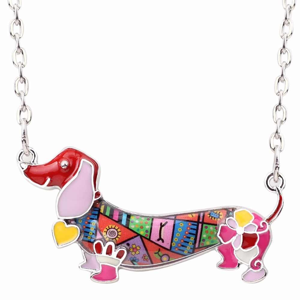 Bonsny Men Statement Maxi Pet Dachshund Chó Choker Vòng Cổ Hợp Kim Pendant Chuỗi Cổ Áo 2018 New Animal Trang Sức Cho Nữ Gift