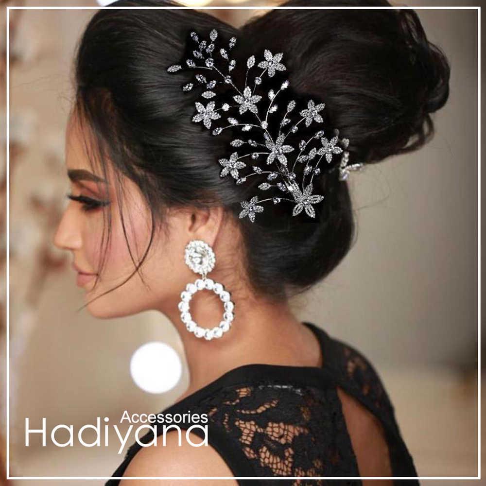 Hadiyana модный гребень невесты женский цветок зажим для волос аксессуары ручной работы Свадебные Элегантные головные уборы с цирконом BC4735