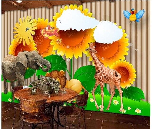 Custom 3d Wallpaper For Walls 3 D Wall Murals Fantasy Kids Room Frescoes  Sunflower Cartoon Wallpaper Animals Mural Kids Frescoes Part 90