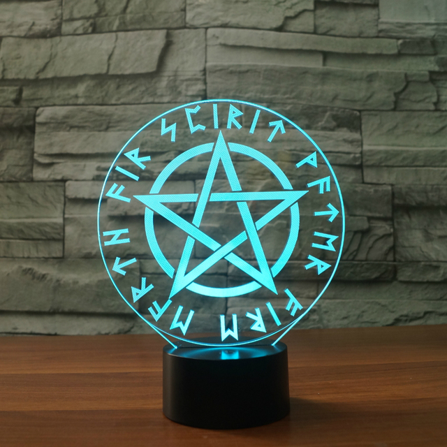 3d Visual Optical Light Occult Satanic Star Symbols 7 Colors The
