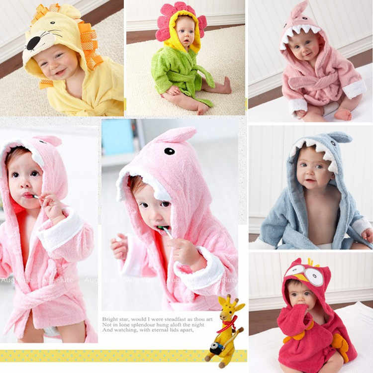 Fashion Designs Hooded Animal Modeling Baby Bathrobe Cartoon Baby Towel  Character Kids Bath Robe Infant Beach bfd3e2b5e