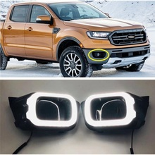 EXTERIOR AUTO ACCESSORIES LED DRL FOG LAMP LIGHTS WITH TURN SIGNAL FEATURE FIT FOR FORD RANGER T8  Wildtrak LIGHT 2018