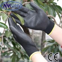 NMSAFETY 12 pairs Lightness comfortable black polyester/nylon anti slip work gloves antistatic