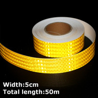 50m*5cm High Intensity Reflective Strip Stickers for Car Styling Truck Motorcycle Decoration Orange Safety Warning Adhesive Tape