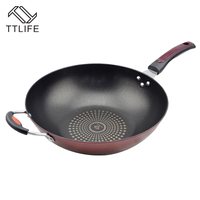 TTLIFE 32CM 34CM Smokeless Wok Sets Non Stick Cookware Smoke Kitchen Supplies Cooking Pots Pans With
