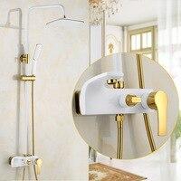 Dofaso винтажные Европейский стиль WIHTE золото душевой смеситель набор черный золотой набор для душа