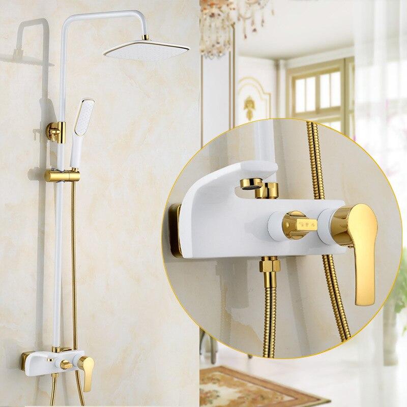 Dofaso винтажный Европейский стиль wihte Золотой смеситель для душа набор черный золотой душевой набор