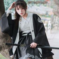 Японское женское платье Bushido, 2 предмета, пальто и платье, длинный большой рукав, манжета, японский халат для девочек, принт Журавля, белые и ч...