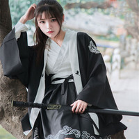 2018 Japanese Bushido Women Dress 2 Pieces Coat And Dress Long Large Sleeve Cuff Japanese Girl