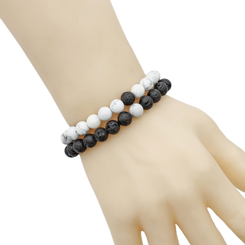 Set of 2 pairs of relationship lovers bracelet set Lava beads stone bracelet women men fashion jewelry gift for him bracelet