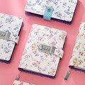 Kawaii A6 coréen serrure en cuir cahier bloc notes fleur fille cadeau feuille mobile mot de passe mini journal verrouillable fournitures scolaires|lockable diary|a6 sketchbook|notebooks writings -