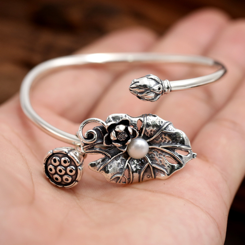 Bracelets & Bangles 925 Sterling Silver Jewelry Lotus Leaf Bracelet With Natural Pearl Cuff Bracelets For Women delicate silver cuff bracelet for women page 4