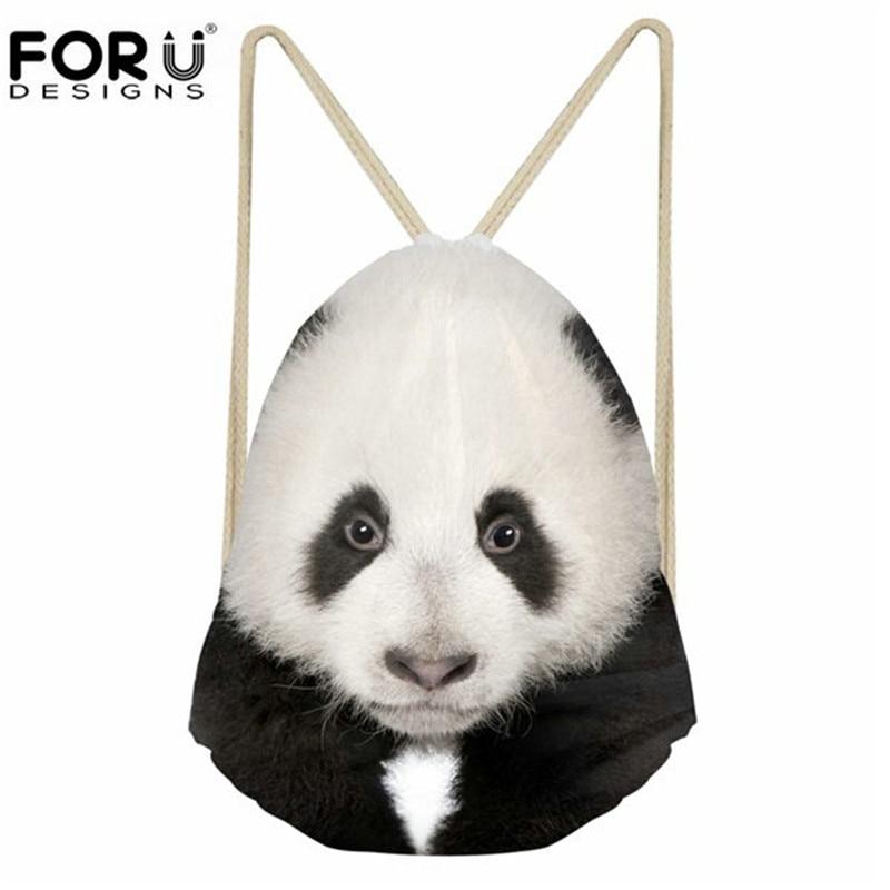 FORUDESIGNS Cute 3D Animal Panda Printing Girls Drawstring Bags Casual Travel Beach Backpacks Chidren Bundle Storage Schoolbags
