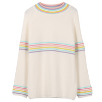 Japanese Style Gir Autumn Winter New Women Fashion Knit Pullover Sweaters O neck Long Sleeve Rainbow Sweater Spring Warm
