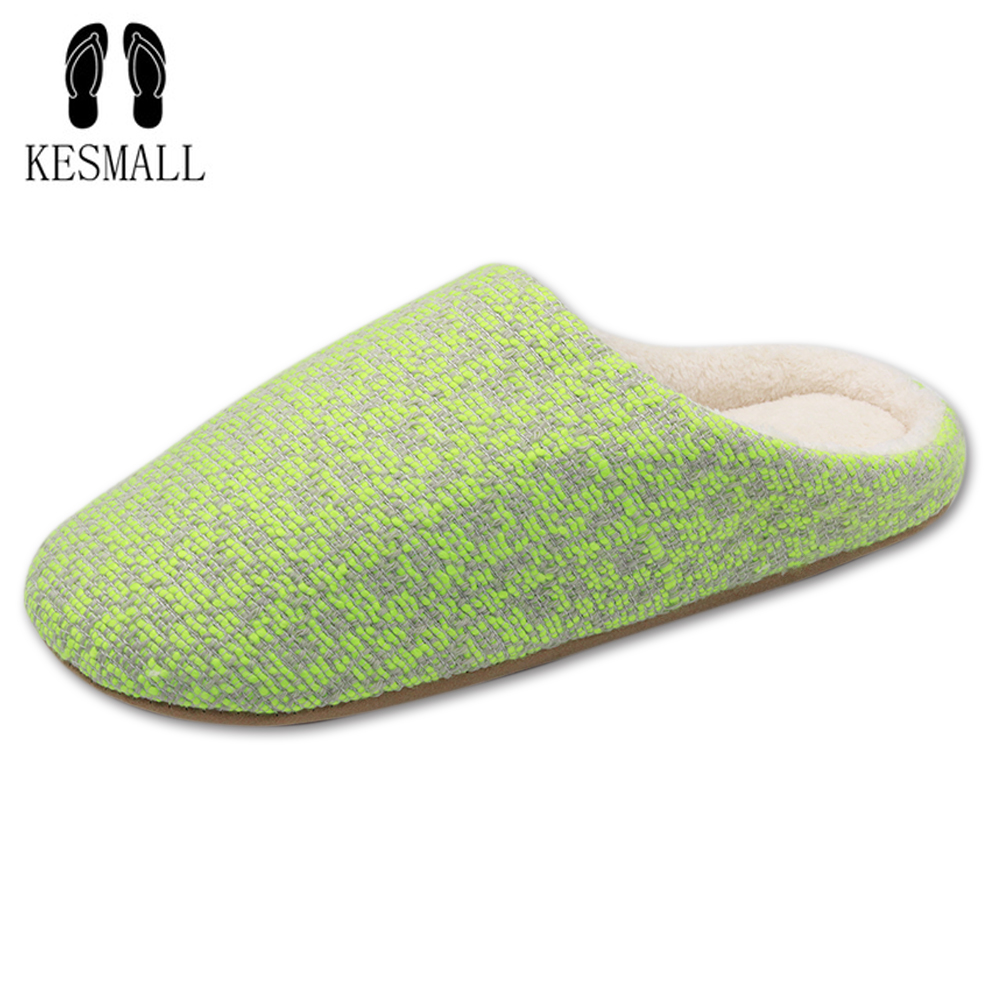 KESMALL New Fashion Soft Sole Autumn Winter Warm Home Cotton Plush Slippers Women Indoor Floor Flat Shoes Slipper Girls Gift WS2 flat fur women slippers 2017 fashion leisure open toe women indoor slippers fur high quality soft plush lady furry slippers