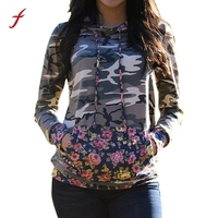 Feitong Autumn Women T Shirts Casual Long Sleeve Hooded Camouflage Printed Pocket Hoodie Tops Tee Shirt