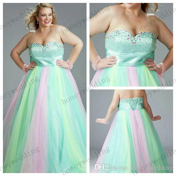 Rainbow Plus Size Evening Dress Gowns 2015 Full Length Strapless