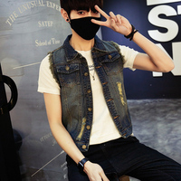 2017 Man Sleeveless denim photograph travel Vest hoodie Loose Coat Male Teenagers Korean men gilet homme Big Plus Size