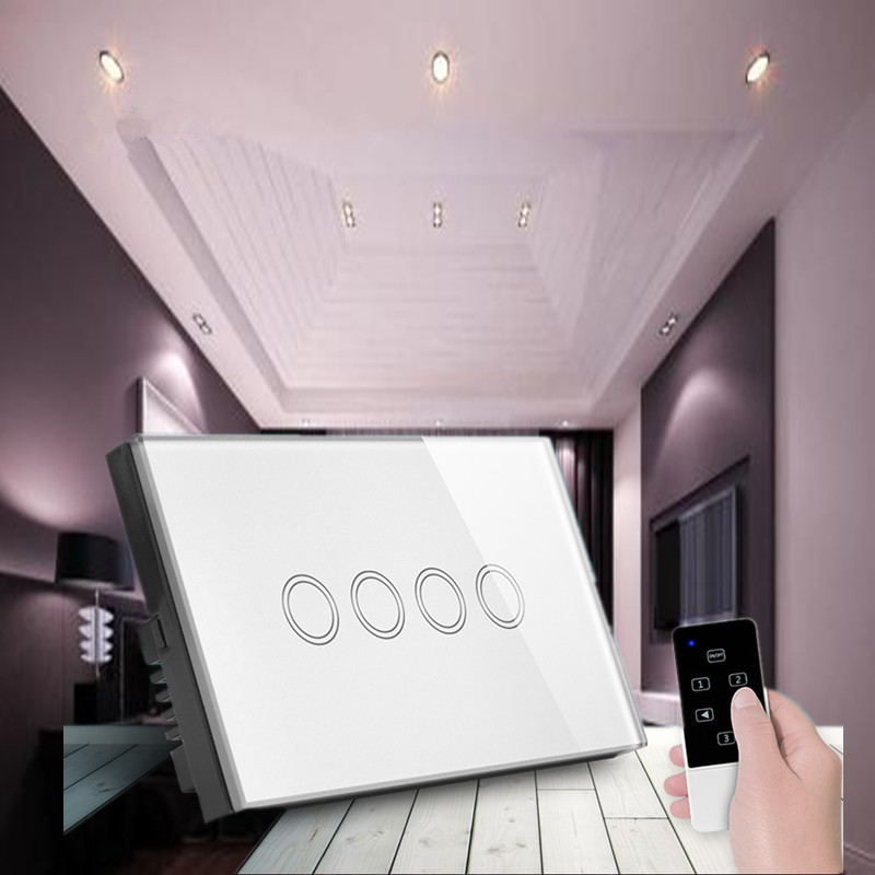US/UA 4 gang touch light switch,RF433 Smart home remote control switch+LED Indicator,AC110V~250V Comaptible Broadlink Pro use pp ua тв онлайн