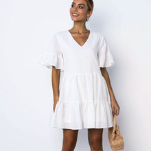 Dress Casual Short Sleeve Ruffles V Neck Summer Fashion Women Boho Linen Cotton Loose Mini White vestidos 2019 P35