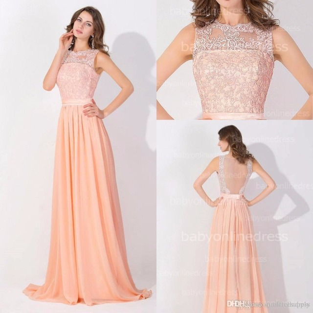 Peach Pink Cheap Prom Dresses 2017 Lace Real