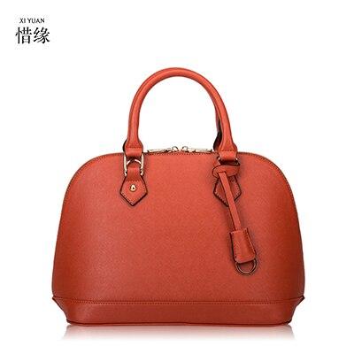 luxury Genuine Leather Women Handbags Large Shoulder Bags Designer Women's Crossbody Bags 2017 new Big Totes bolsa orange/black