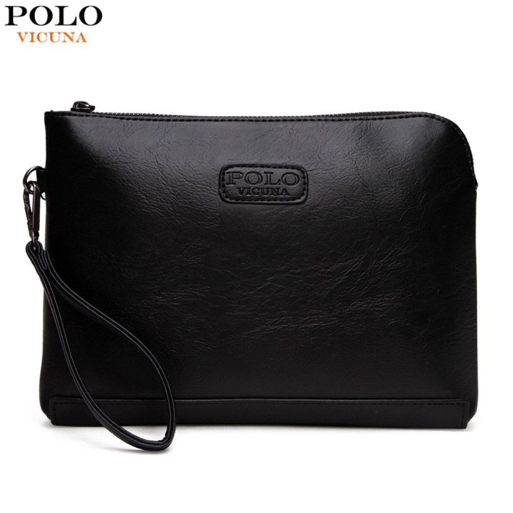 VICUNA POLO Hot Sell Casual Mens Leather Envelope Clutch Bag Large Capacity Solid Black Clutches For Men Zipper Open Men Wallet цена 2017
