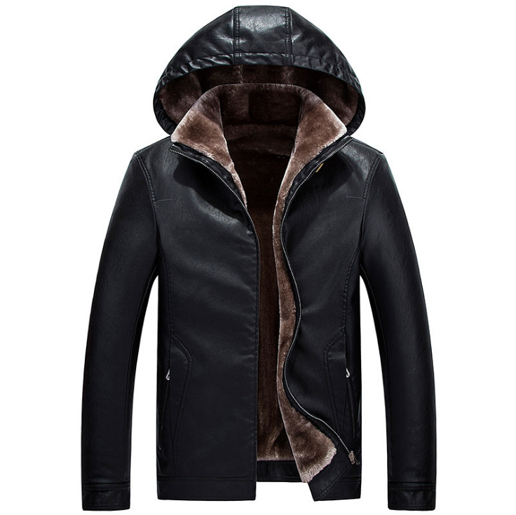 2019 Winter Leather Jacket Men Top Quality Faux Fur Coats New Thick Casual Male Hooded Leather Jackets