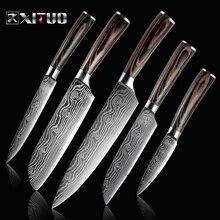 XITUO 5 шт. набор кухонных ножей лезвия из нержавеющей стали Дамасские лазерные наборы шеф-ножей Santoku инструменты для приготовления пищи Кухонные