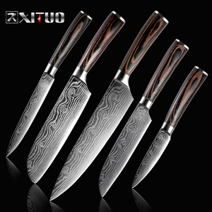 XITUO 5PCS Kitchen Knife Set Stainless Steel Blades Damascus Laser Chef Knife Sets Santoku Utility Paring Cooking Tools kitchen(China)