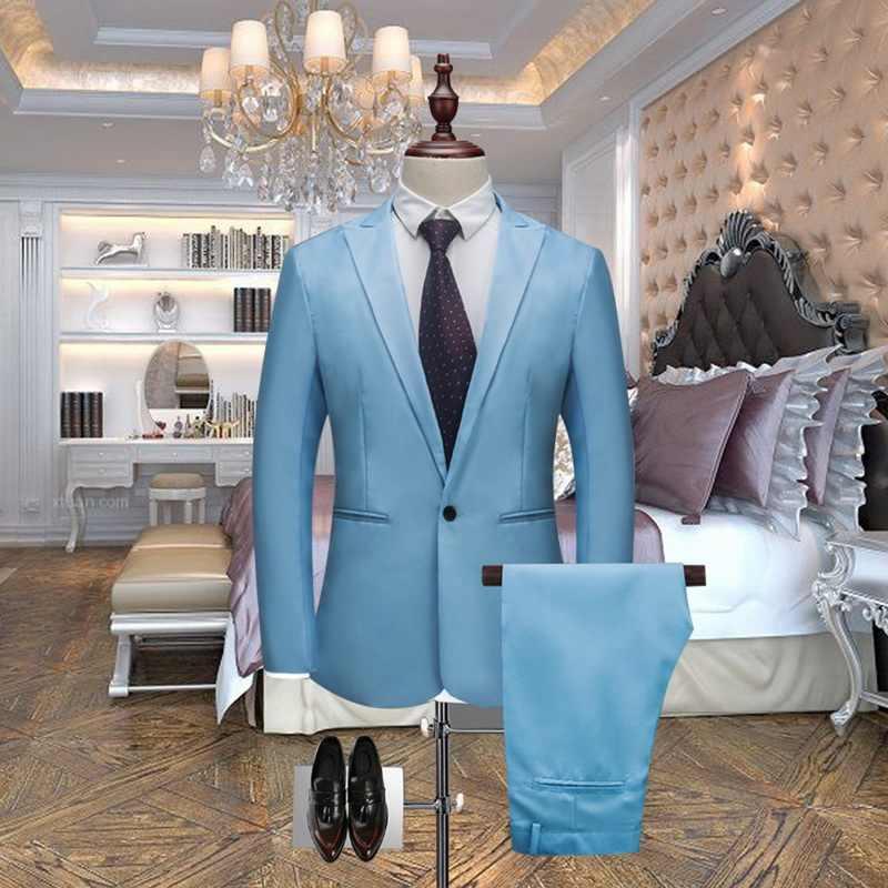 HEFLASHOR 高級男性の結婚式のスーツ男性ブレザースリム男性衣装ビジネスフォーマルパーティーブレザーセット (ジャケット + パンツ) 3XL