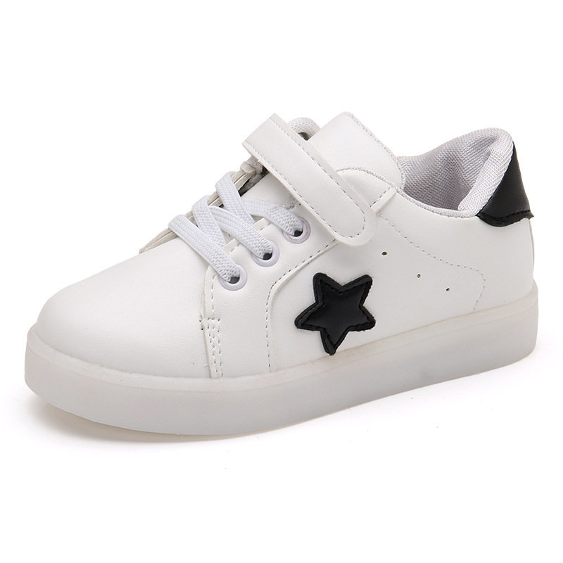 Fashion LED Light Stars Kids Shoes For Baby Boy Girl Childrens Casual Sneakers Boys Girls Soft Anti-slip Sports Shoes Star Soft
