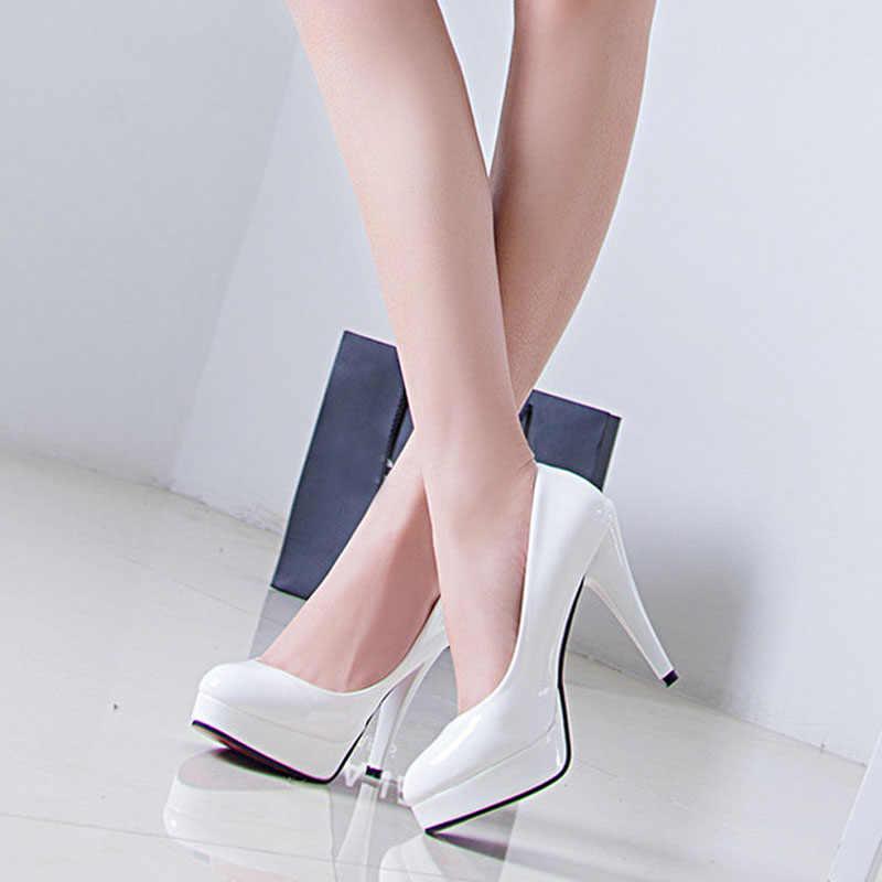 VTOTA/женские туфли-лодочки; модные классические туфли из лакированной кожи на высоком каблуке; женские свадебные модельные туфли на платформе для стриптиза размера плюс 42