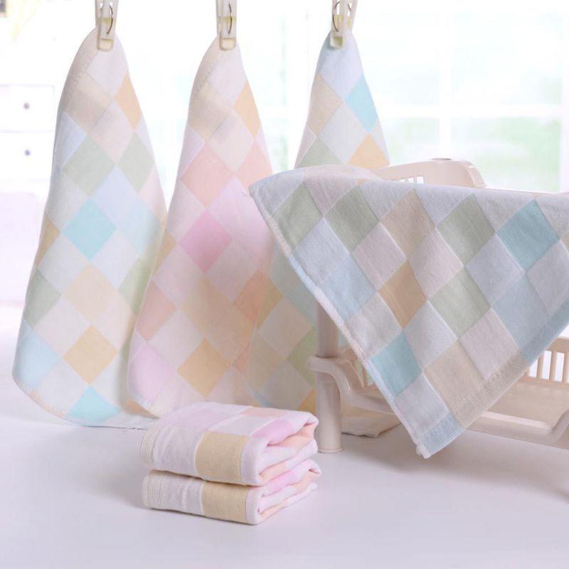 Gauze Newborn Baby Infant Cartoon Face Hand Bathing Towel Bibs Feeding Square Towels Handkerchief