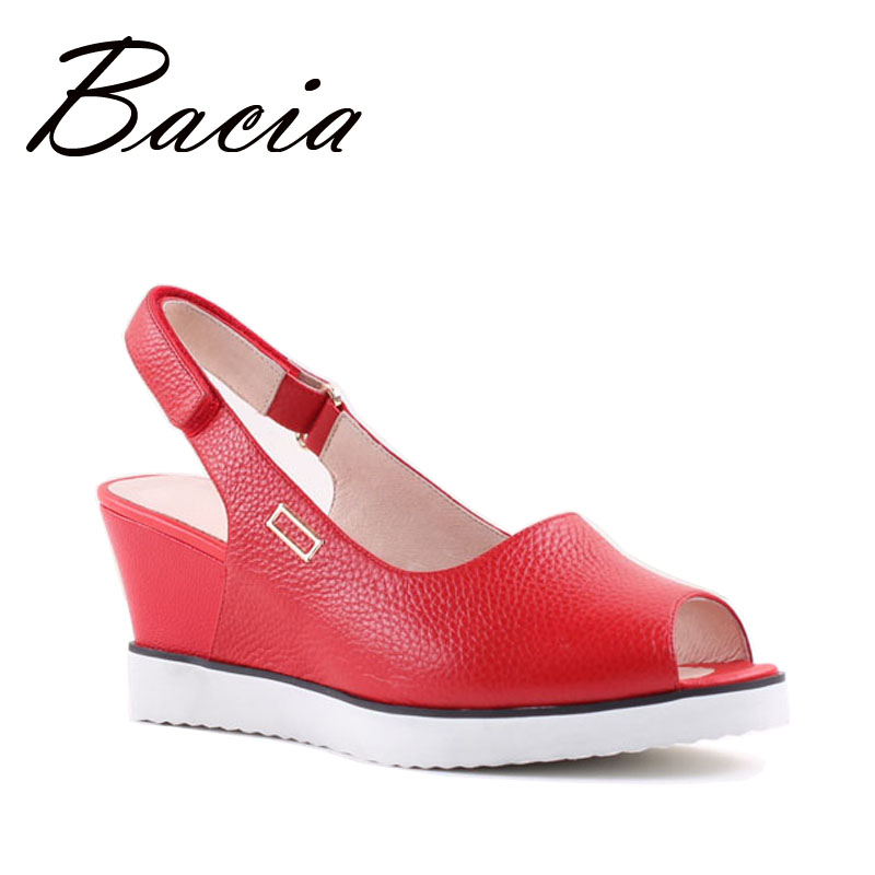 Bacia Big Size 34-43 Summer Women Genuine Leather Sandals Ladies RED BLACK Ankle Strap Fashion Wedges Casual Platforms SA041 shenzhen technology 104050 3 7v lithium polymer battery 3 7v volt li po ion lipo rechargeable batteries for portable equipment