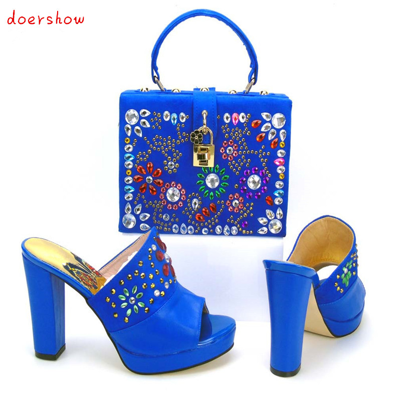 doershow New Arrival stones Shoes And Matching Bag Set Italian Elegant Woman Slipper Pumps Shoes And Bag Set For Party PYS1-12