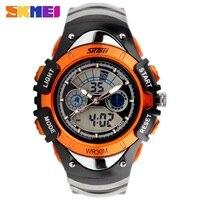 2014 Fashion Children Watches Dual Time LED Digital Quartz Watch 30m Waterproof Swim Student Sports Watches