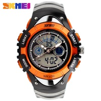 2014 Fashion Children Watches Dual Time LED Digital Quartz Watch 30m Waterproof Swim Student Sports Watches