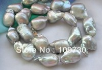 Jewelry 001847 Huge 17 21mm gray baroque KESHI REBORN PEARL NECKLACE
