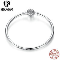 100% 925 Sterling Silver Engrave Snowflake Clasp Unique as you are Snake Chain Bracelet & Bangle DIY Jewelry WEUS915