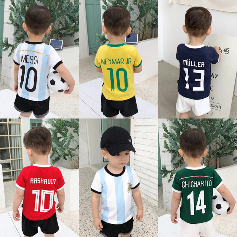 Summer T-shirt For Girls Boys Football Sports Clothing Children T-shirts Short Sleeve Tee Fashion Kids Tops Baby Clothes wa05875ba fashion designer brands luxury men t shirt 2018 summer famous design t shirt men brand clothing fashion tee tops