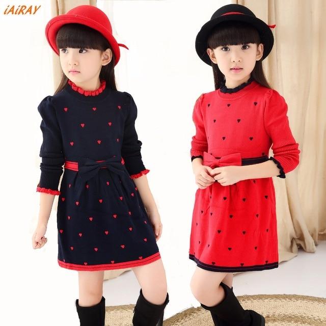 a3e3b287 iAiRAY brand new 2017 girls spring clothes girls long sweater dress blue  korean children clothing girl