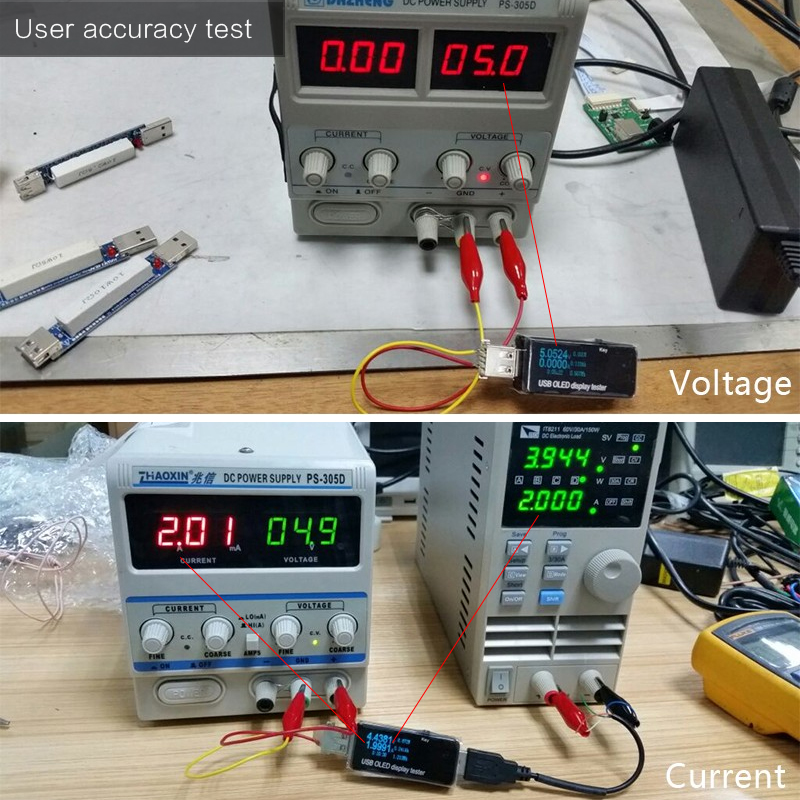 OLED 128x64 USB testerio nuolatinės srovės voltmetro srovės - Matavimo prietaisai - Nuotrauka 4