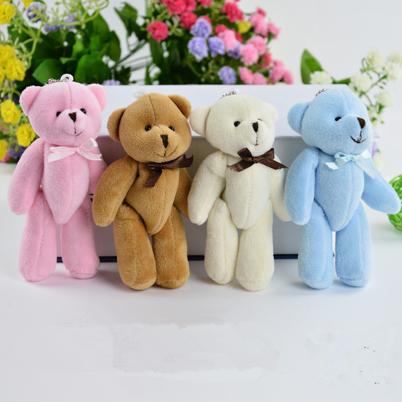 15pcs/Lot 8CM Kawaii Cute Joint Bowtie Teddy Bear Plush Toy Doll Stuffed Toy Wedding Gift Bouquet Decor Doll Toy stuffed animal 120 cm cute love rabbit plush toy pink or purple floral love rabbit soft doll gift w2226