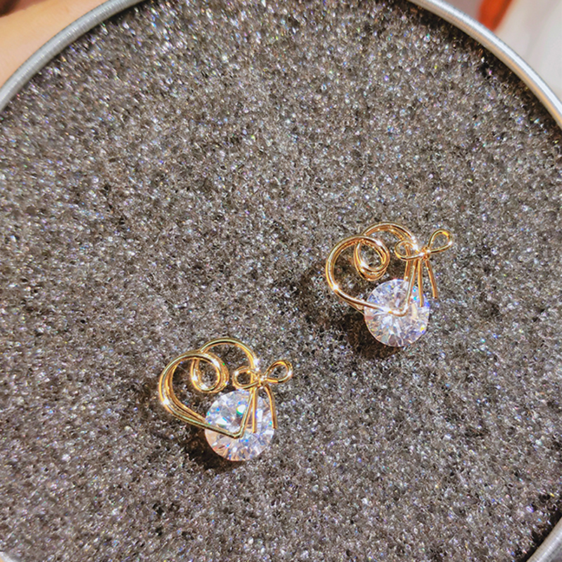 gold color stud earrings with zircon stone (5)