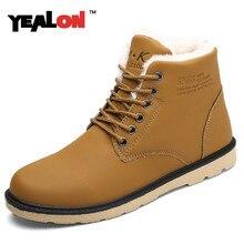 YEALON 2016 Men's Boots Warm Fur Winter Boots Work Leather Shoes Fashion Ankle Boots Men Outdoor Shoes Autumn Botas Hombre
