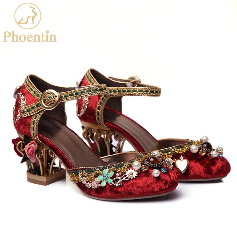 Phoentin velvet ankle strap Chinese wedding shoes women crystal buckle pearl rhinestone flower decoration mary jane