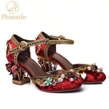 Chaussures de mariage chinoises en velours Phoentin, lanière à la cheville, avec boucle en cristal, strass, décoration florale, chaussures mary jane, FT267